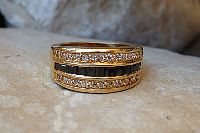 Gold Onyx And Zirconia Band Ring