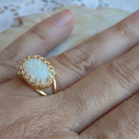 Gold White Opal Ring
