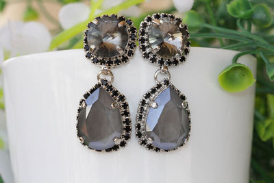 Gray Black Earrings