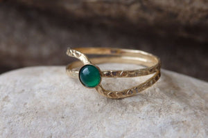 Green Agate Solitaire Ring