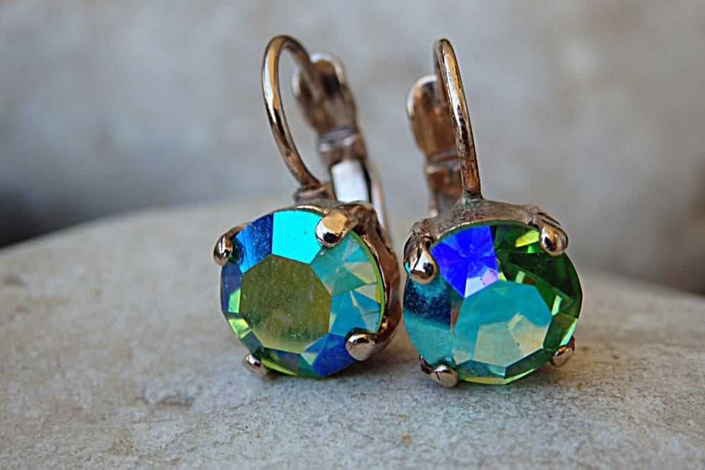 Green Blue Rhinestone Ab Swarovski Earrings. Green Drop Earrings. Rose Gold Green Earrings. Halo Crystal Women Earrings. Small Gold Earrings