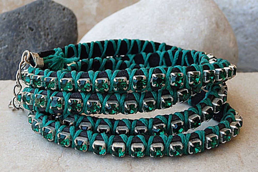 Green Bracelet. Leather Wrap Bracelet
