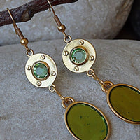 Green Oval Drop Earrings