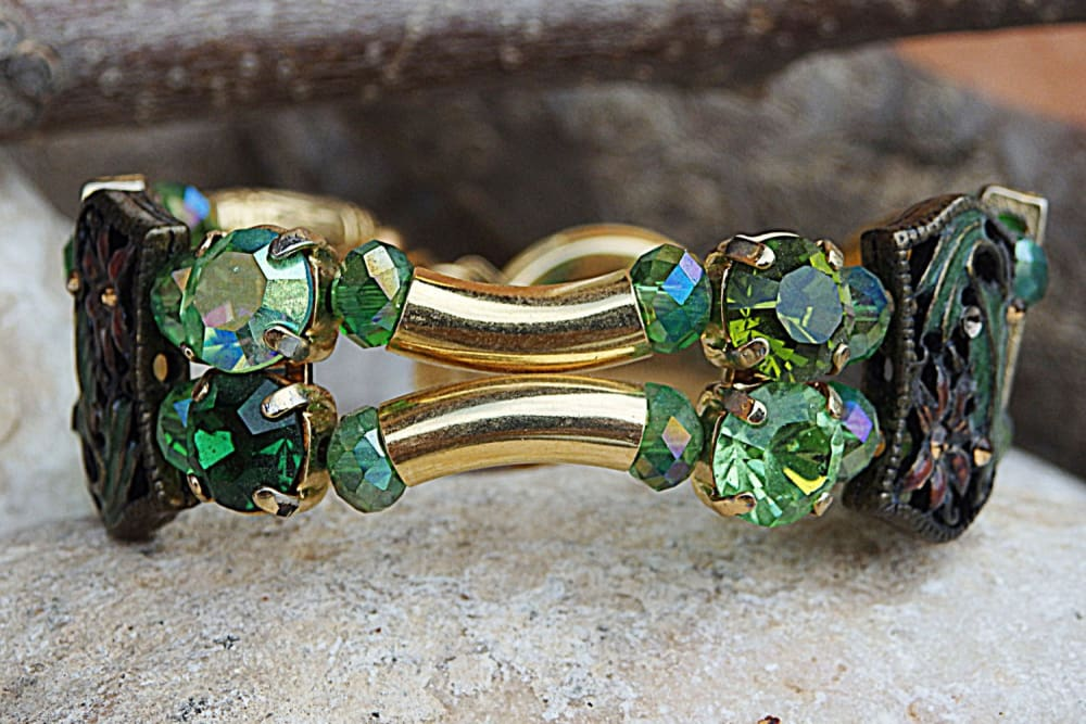 Green Swarovski Bracelet. Enamel Tube Bracelet. Unique Jewelry. One Of A Kind Bracelet. Hand Made Evening Bracelet.green And Gold Bracelet