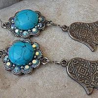 Hamsa Earrings. Turquoise And Swarovski Silver Protection Earrings. Genuine Turquoise Jewelry. Natural Gemstone Earrings. Evil Eye Earrings.