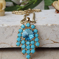Hamsa Hand Necklace. Turquoise Necklace. Evil Eye Necklace. Charm Necklace. Arab Necklace. Islamic Jewelry. Turkish Necklace. Blue Pendant