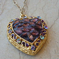 Hand Painted Pendant. Heart Shaped Necklace. Dye Jewelry. Gold Heart Necklace. Purple Amethyst Necklace.mother Day Jewelry. Mom Gift Idea