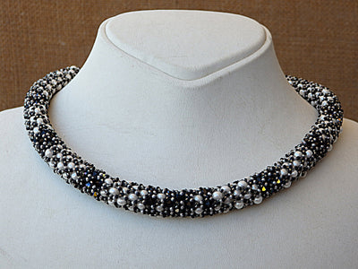 Beaded swarovski necklace. Black and white necklace. bead work jewelry.Whith pearl necklace. Evening necklace. Cocktail necklace. Wife