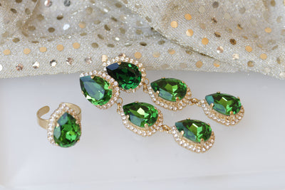 EMERALD JEWELRY SET, Moss Green Swarovski Set, Chandelier Clip On Earrings, Bridal Jewelry Set, Earrings Ring Set, Formal Teardrop Earrings