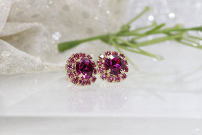 FUCHSIA PINK EARRINGS, Swarovski Earrings, Gift For Her, Bridal Earrings, Hot Pink Earrings, Rhinestone Earrings, Gold And Pink,Pink Wedding