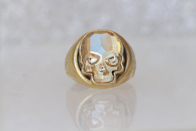 GOLD SKULL RING, Dia De Los Muertos, Swarovski Gold Ring, Gold Plated Ring, Sugar Skull Ring, Death Ring, Halloween Jewelry Gift, Woman Ring