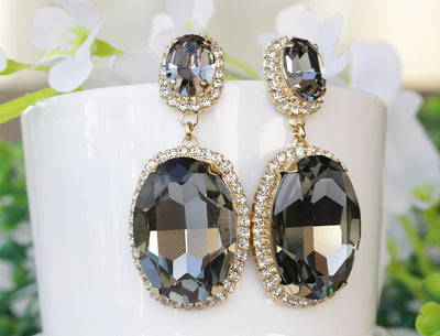 BLACK DIAMOND EARRINGS, Gray Dangle Earrings,Chandelier Earrings,Party Formal Earring, Large Swarovski Earrings,Woman Jewelry Valentine Gift