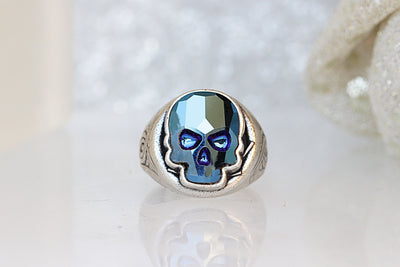 Silver skull ring, Swarovski skull ring, Blue skull Crystal Ring, Sugar skull, Cool Gifts For Men, Gothic ring,Dia de los muertos, Punk Ring