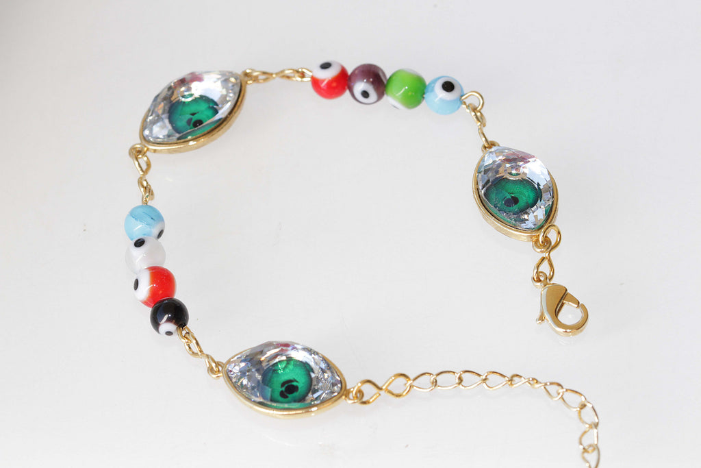 EYE BRACELET, Evil Eye Bracelet, Luck Unique Gift,Beaded Bracelet, Swarovski Bracelet, Emerald Green Bracelet,Adjustable Friendship Bracelet