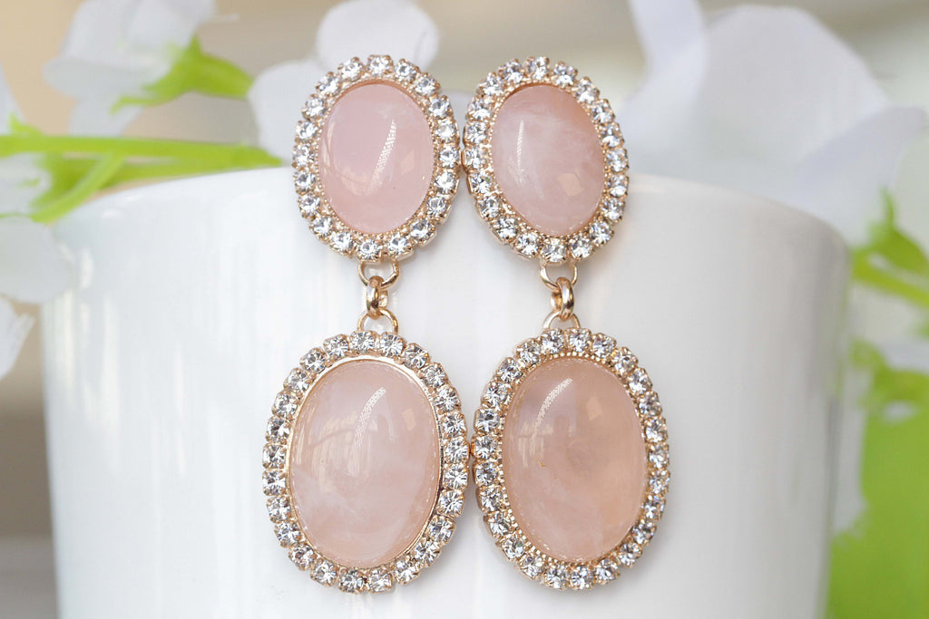 ROSE QUARTZ EARRINGS, Genuine Rose Quartz, Gemstone Earrings, Gift For Her, Light Pink Earrings, Stone Earrings, Bridal Earrings, Pale Pink