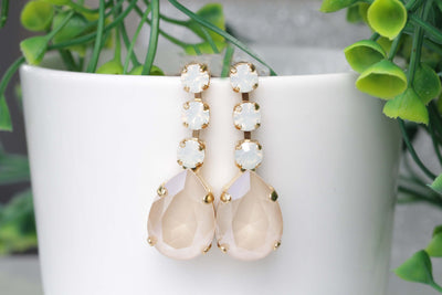Bridal Elegant earrings, Bridesmaid Earrings, White Opal Earrings, Nude Ivory Cream Long Stud, Swarovski Earrings, Wedding Jewelry For Bride