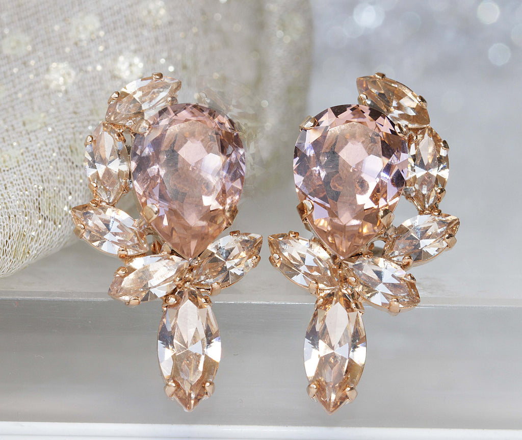 MORGANITE BRIDAL EARRINGS, Crystal Earrings, Peachy Earring, Bridal Blush Earrings, Bridal Rose Gold Earrings, Vintage Champagne Earring