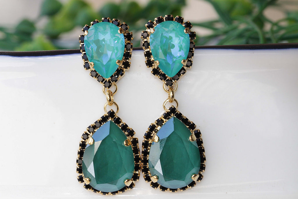 EMERALD EARRINGS,  Evening Chandelier Long Earrings, Black And Green Swarovski Earrings, Elegant Vintage Earrings, Bridal Emerald Earrings