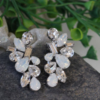 Bridal Opal earrings, White Opal Crystal earrings, Opal Wedding jewelry,Cluster Large Stud earring,Swarovski Unique Earring,Art Deco Earring