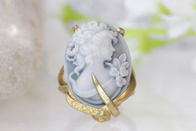 CAMEO RING, Art Deco Boho Ring, Black And White Ring, Gray Cameo Ring, Unique Engagement Ring, Gold Filled Ring, Women's Statement Ring Gift