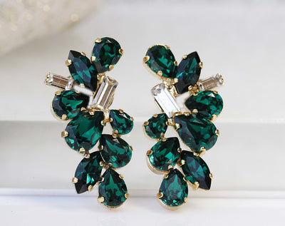 EMERALD Clip On EARRINGS, Dark Green Clip Ons, Emerald Wedding jewelry, Cluster Clip On Studs, Bridal Non Pierced Earring, Swarovski ,Woman
