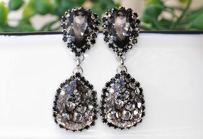 GRAY BLACK EARRINGS, Midnight Chandelier Long Earrings, Black And Gray Swarovski Earrings,Classic Jewelry,Woman Long Earrings,Formal Earring
