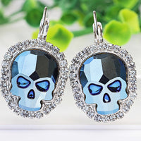 SKULL EARRINGS, Blue Swarovski Earrings, Gothic Jewelry, Drop Earrings,Sugar Skull Earrings,Halloween Earrings, Rock N roll Sister Gift Idea