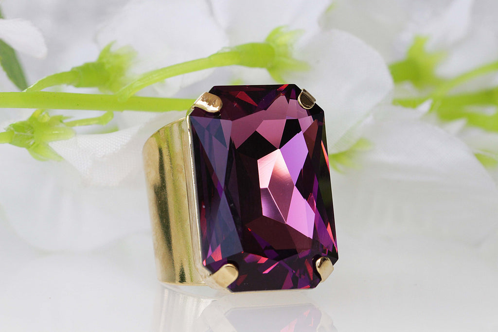 AMETHYST RING, Purple amethyst Ring, Swarovski Ring, Extra Large Cocktail Ring, Big Stone Ring, Statement Ring,Emerald Cut Ring, Chunky Ring