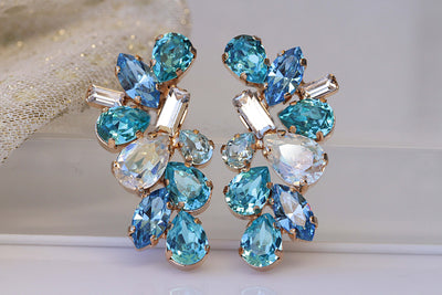 BRIDAL BLUE STUDS,  Vintage Crystal earrings, Summer Wedding jewelry, Cluster Big Studs,Swarovski Unique Earring, Formal Earring, Woman Gift