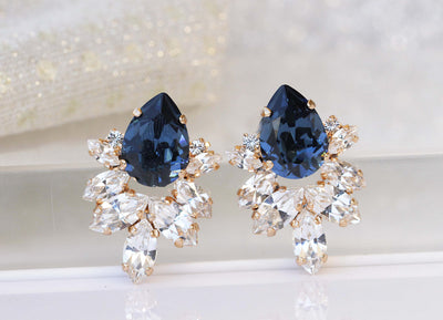 BLUE CLUSTER Earrings, Bridal Navy Blue Jewelry Gifts, Swarovski Earrings, Mother of Brides Jewelry,Wedding Blue Navy Studs,bridesmaids Gift