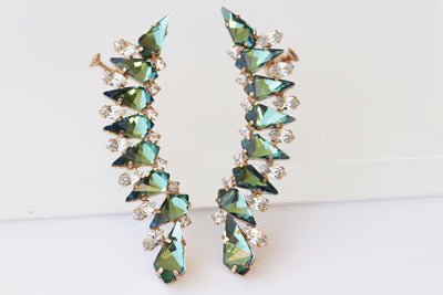 Emerald  EAR CLIMBER, Swarovski Crystals Earrings, Ear Crawler, Green Ear Cuff,  Long Climbing Earrings, Ear Sweep,  Rocker Bride Jewelry