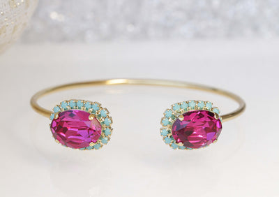 PINK TURQUOISE BRACELET, Blue Turquoise And Pink Fuchsia, Swarovski Bracelet,Open Cuff Bracelet,Hot Pink Bridesmaid Bangle,Boho Wedding Cuff
