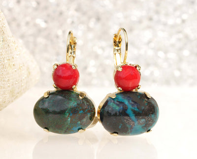 RED GREEN EARRINGS, Eilat Stone Earring, Boho Earring, Natural Stone Jewelry, Red Coral And Green Emerald Colour Earrings,Raw Ethnic Earring