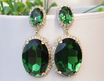 EMERALD Green EARRINGS, Olive Green Statement Earrings, Chandelier Earrings, Woman's Jewelry Mother Of The Brides, Large Swarovski Earrings,