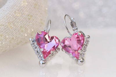 HEART PINK EARRINGS, Swarovski Fuchsia Drop Earrings, Heart Shaped Earrings, Mother's Day, Anniversary Wife Gift,Bridal Earring Necklace Set