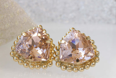 BLUSH EARRINGS, Clip On Earrings, Wedding Earrings, Woman Clip On Earrings, Big Stone Swarovski Earrings, Large Earrings, Morganite Earrings