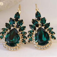 EMERALD DROP Earrings, Bridal Emerald Statement Earrings, Swarovski Green Jewelry, Multi Stone Earrings, Wedding Emerald,Mother Of The Bride