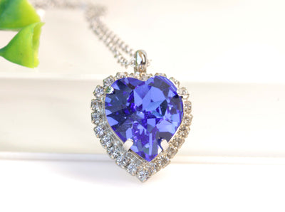 BLUE SAPPHIRE Heart Necklace, Swarovski Pendant, Christmas Gift Idea, Bridesmaid Necklace, Heart Shaped Necklace, Bridal Necklace, For Wife