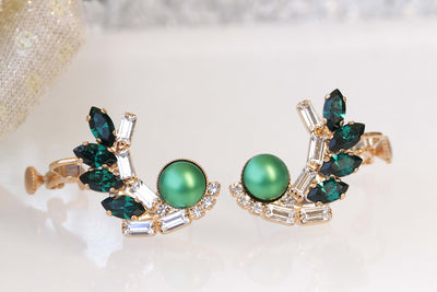 EMERALD EARRINGS, Ear Pin Earrings,Ear Climber Earrings, Pearl Bridal Earrings,Ear Crawlers Earrings,Green Swarovski Earrings,Trendy Earring