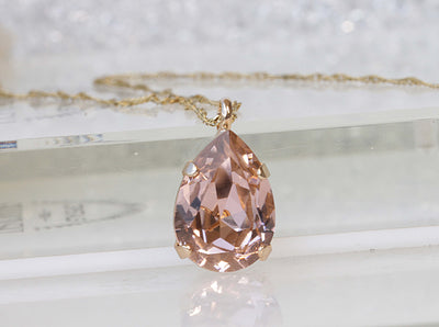 BLUSH MORGANITE NECKLACE, Teardrop Pendant, Wedding Jewelry, Bridal Simple Necklace, Light Peach Necklace, Gold Pink Necklace, Gift For Her