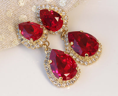 RED Chandelier Earring, Ruby Swarovski Earrings, Sexy Jewelry For Woman, Beach Wedding, Bridal Chandeliers, Clip On Teardrop Drop Earrings,