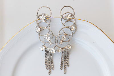 WIRE EAR CUFF, Bridal Climbing Earrings,Crystal Tassel Ear Sweep Crawler,Bridal Statement Earrings,Swarovski Silver Ear Climber,Double Hoops