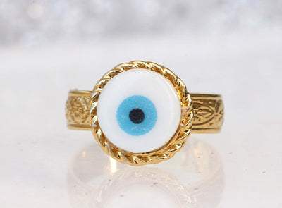 BLUE EVIL EYE Ring, Adjustable Ring, Gold Plated Shell Ring, Evil Eye Jewelry, Turquoise Evil Eye Bead Ring, greek jewelry, Ring For Woman