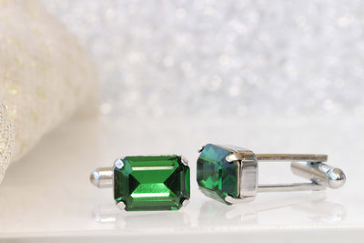 EMERALD CUFFLINKS, Green Cufflinks, Groom Cufflinks, best man cufflinks, Fancy Cuff Links, Swarovski Cufflinks, Father Of The Bride Cufflink