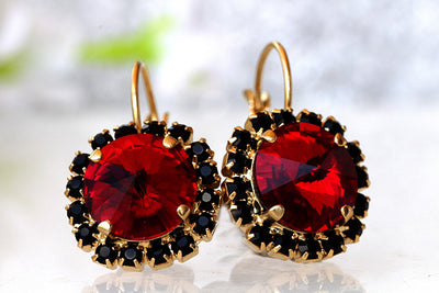RED GARNET EARRINGS, Swarovski Red Earrings, Dark Red Earrings,  Crystal Bridesmaid Earrings, Red And Black Earrings, Small Drop Earrings,