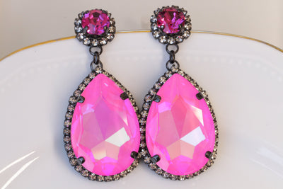 HOT PINK Earrings, Magenta Earrings, Boho Earrings, FUCHSIA Crystal Earrings, Dark Pink Black Earrings,Pink Statement Swarovski Drop Earring
