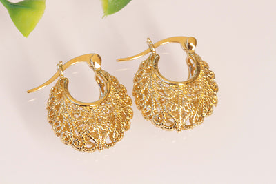 GOLD Hoop Earrings, Bohemian Jewelry, Bridal Gold Plated Earrings, Small Earrings, Moroccan Filigree Earrings, Oriental Earrings,Boho Hoops