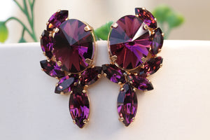 DARK PURPLE Earrings, AMETHYST Bridal Earrings, Swarovski Evening Earrings, Cluster Studs, Statement Woman Earring,Mother Earrings Xmas Gift