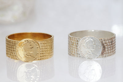 COIN RING, Ancient Coin Ring, Queen Elizabeth  Coin Jewelry, Textured Ring, Unisex Ring, Copy Coin Signet Ring for Women,Rings for Men Gift