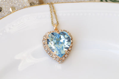 BLUE AQUAMARINE Heart Shaped Necklace, Swarovski Pendant, Valentine Jewelry, Bridesmaid Necklace, Pastel Necklace, Bridal Necklace, For Wife